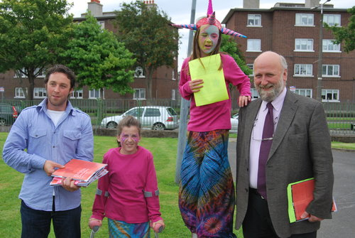 Dr. Rory Hearne, Fergus Finaly and young children from Dolphin at the Dolphin decides launch summer 2009